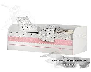Купить кровать BTS Трио КРП-01, белый/принцесса (с подъёмным механизмом) КРП-01, белый/принцесса