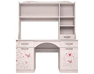 Купить стол Ижмебель Принцесса 6+11 письменный с надстройкой