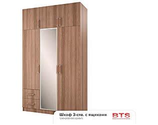 Купить шкаф BTS 3-х створчатый с ящиками