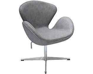 Купить кресло Bradexhome Swan Chair, светло-серый с эффектом состаренная кожа