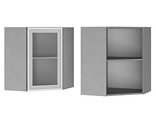 Купить шкаф BTS Мята, Имбирь, Карри 6УВ2 настенный угловой со стеклом