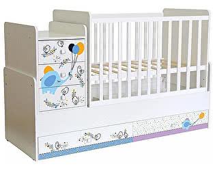 Купить кровать Polini Кроватка-трансформер Polini kids Simple 1100 с комодом