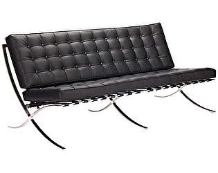 Купить диван DG-Home Barcelona Трехместный Чёрная Кожа Премиум