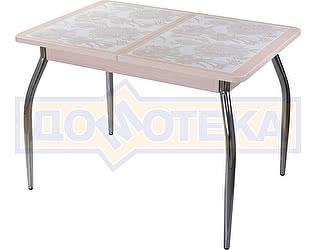 Купить стол Домотека Каппа ПР ВП МД 01 пл 32, молочный дуб, плитка с цветами