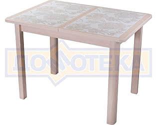 Купить стол Домотека Каппа ПР ВП МД 04 МД пл 32, молочный дуб, плитка с цветами