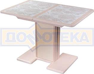 Купить стол Домотека Каппа ПР ВП МД 05 МД/КР пл 32, молочный дуб, плитка с цветами