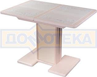 Купить стол Домотека Каппа ПР ВП МД 05 МД/КР пл 42, молочный дуб, бежевая плитка с сакурой