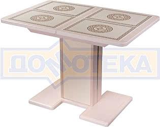 Купить стол Домотека Каппа ПР ВП МД 05 МД/КР пл 52, молочный дуб, плитка с греческим орнаментом