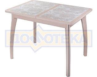 Купить стол Домотека Каппа ПР ВП МД 07 ВП МД пл 32, молочный дуб, плитка с цветами