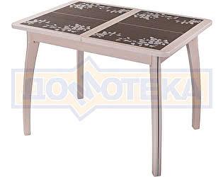 Купить стол Домотека Каппа ПР ВП МД 07 ВП МД пл 44, молочный дуб, коричневая плитка с сакурой