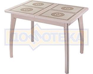 Купить стол Домотека Каппа ПР ВП МД 07 ВП МД пл 52, молочный дуб, плитка с греческим орнаментом