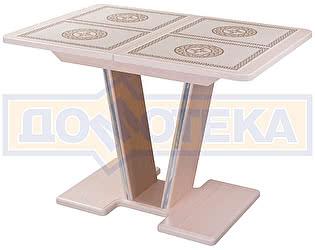 Купить стол Домотека Стол с плиткой - Каппа ПР ВП МД 03 МД/КР пл 52, молочный дуб, плитка с греческим орнаментом