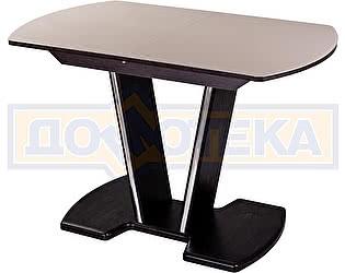 Купить стол Домотека Танго ПО-1 ВН ст-КР 03-1 ВН, венге, стекло кремового цвета