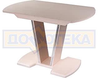 Купить стол Домотека Танго ПО-1 МД ст-КР 03-1 МД, молочный дуб, стекло кремового цвета