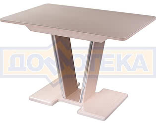 Купить стол Домотека Танго ПР-1 МД ст-КР 03-1 МД, молочный дуб, стекло кремового цвета