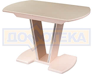 Купить стол Домотека Румба ПО-1 КМ 06 МД 03-1 МД, молочный дуб, камень песочного цвета