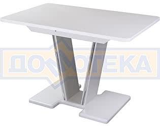 Купить стол Домотека Румба ПР-1 КМ 04 БЛ 03-1 БЛ, белый, белый камень