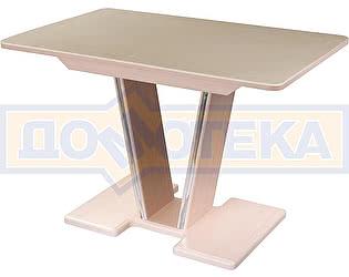 Купить стол Домотека Румба ПР-1 КМ 06 МД 03-1 МД, молочный дуб, камень песочного цвета