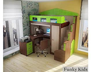 Купить кровать Фанки Кидз чердак Хоум-4 (с нишей  и шкафчиком)