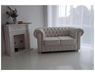 Купить диван FotoDivan Честер 2- х местный, белый