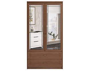 Купить шкаф Ижмебель Лондон 2х дверный для одежды и белья с ящиками и зеркалами, мод 17