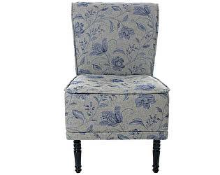 Купить кресло La Neige волна малое серое с синим орнаментом Цветы Прованса