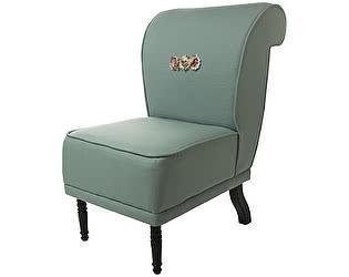 Купить кресло La Neige волна малое голубое, декорированное розами Цветы Прованса