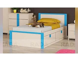 Купить кровать Рада Пионер с ящиками на 900, индиго