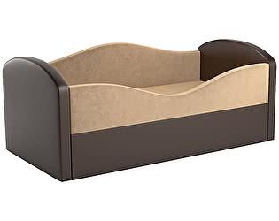 Купить диван Мебелико Сказка микровельвет бежевый/ эко кожа коричневый