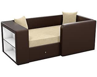 Купить диван Мебелико Орнелла микровельвет бежевый/ эко кожа коричневый