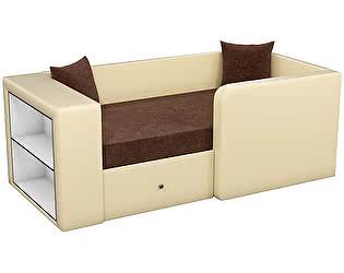 Купить диван Мебелико Орнелла микровельвет коричневый/ эко кожа бежевый