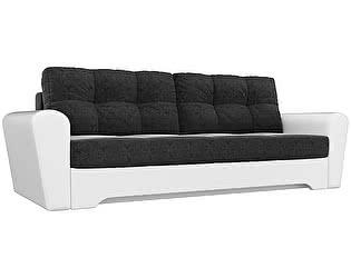Купить диван Мебелико прямой Амстердам микровельвет черный/ эко кожа белый