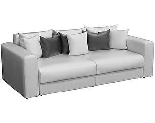 Купить диван Мебелико прямой Мэдисон эко кожа белый/ подушки черный