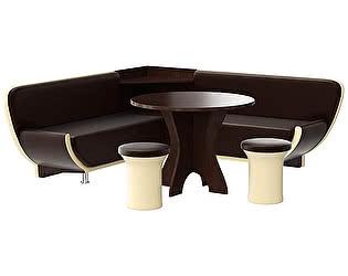 Купить кухонный уголок Мебелико Лотос эко кожа коричневая/бежевый