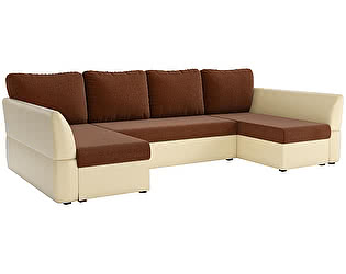 Купить диван Мебелико П-образный Гесен рогожка коричневый/ эко кожа бежевый