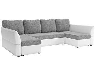 Купить диван Мебелико П-образный Гесен рогожка серый/эко кожа белый