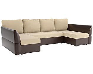 Купить диван Мебелико П-образный Гесен рогожка бежевый/ эко кожа коричневый