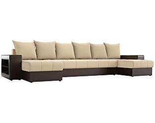 Купить диван Мебелико П-образный Дубай рогожка бежевый/ эко кожа коричневый