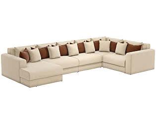 Купить диван Мебелико П-образный Мэдисон рогожка бежевый