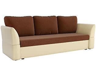 Купить диван Мебелико прямой Гесен рогожка коричневый/эко кожа бежевый