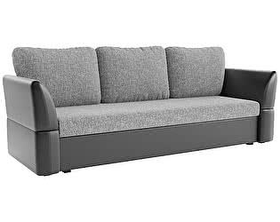 Купить диван Мебелико прямой Гесен рогожка серый/эко кожа черный