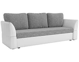 Купить диван Мебелико прямой Гесен рогожка серый/эко кожа белый