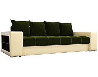 Купить диван Мебелико прямой Дубай микровельвет зеленый/ эко кожа бежевый