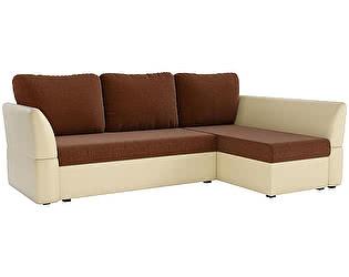 Купить диван Мебелико Гесен рогожка коричневый/эко кожа бежевый