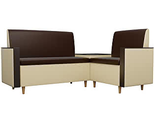 Купить кухонный уголок Мебелико Модерн эко кожа коричневый/бежевый