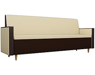 Купить диван Мебелико Модерн эко кожа бежевый/коричневый прямой