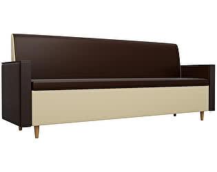Купить диван Мебелико Модерн эко кожа коричневый/бежевый прямой