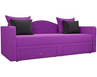 Купить диван Мебелико Дориан микровельвет фиолетовый/ подушки черный