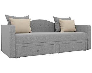 Купить диван Мебелико Дориан рогожка серый/ подушки бежевый