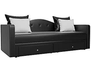Купить диван Мебелико Дориан эко кожа черный/ подушки белый